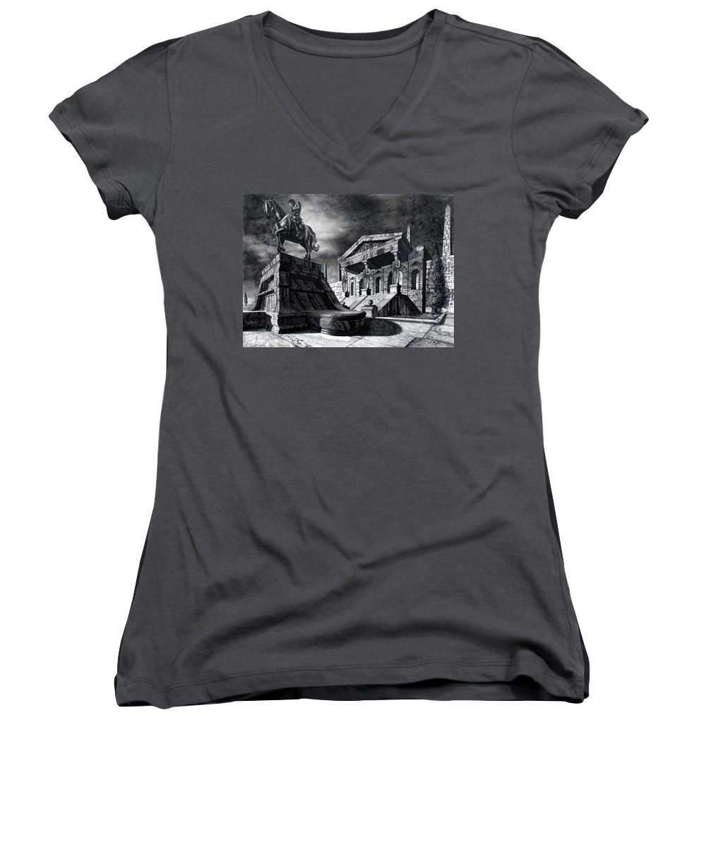Greek Architecture Women's V-Neck (Athletic Fit) featuring the drawing Temple Of Perseus by Curtiss Shaffer