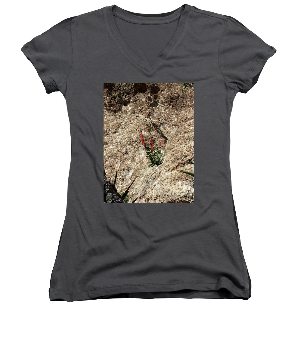 Wildflowers; Flowers Women's V-Neck T-Shirt featuring the photograph Tenacity by Kathy McClure