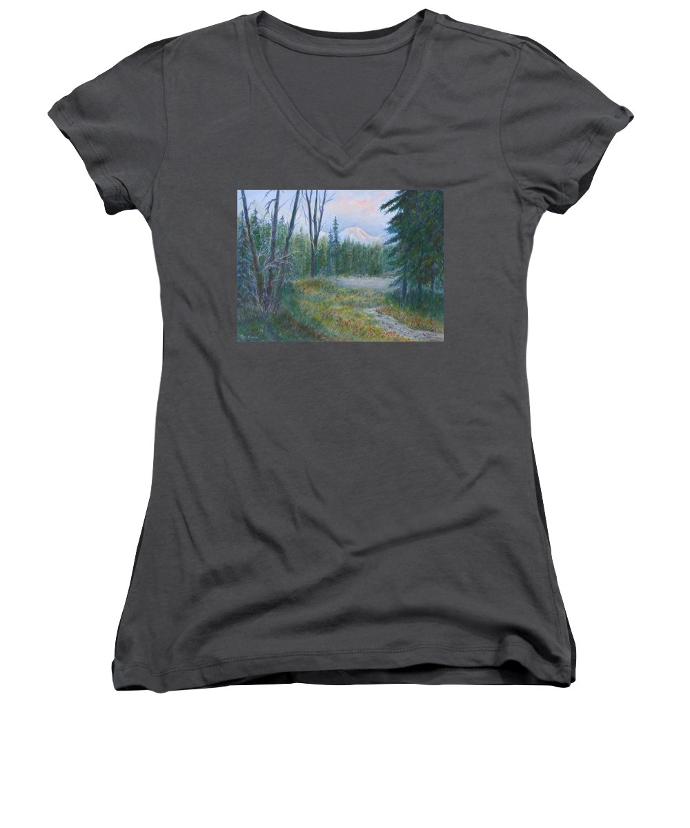 Landscape Women's V-Neck T-Shirt featuring the painting Teton Valley by Ben Kiger