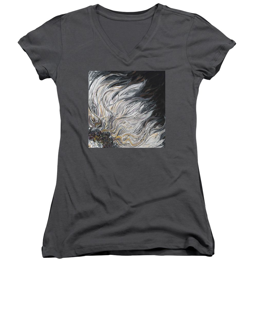 White Women's V-Neck T-Shirt featuring the painting Textured White Sunflower by Nadine Rippelmeyer
