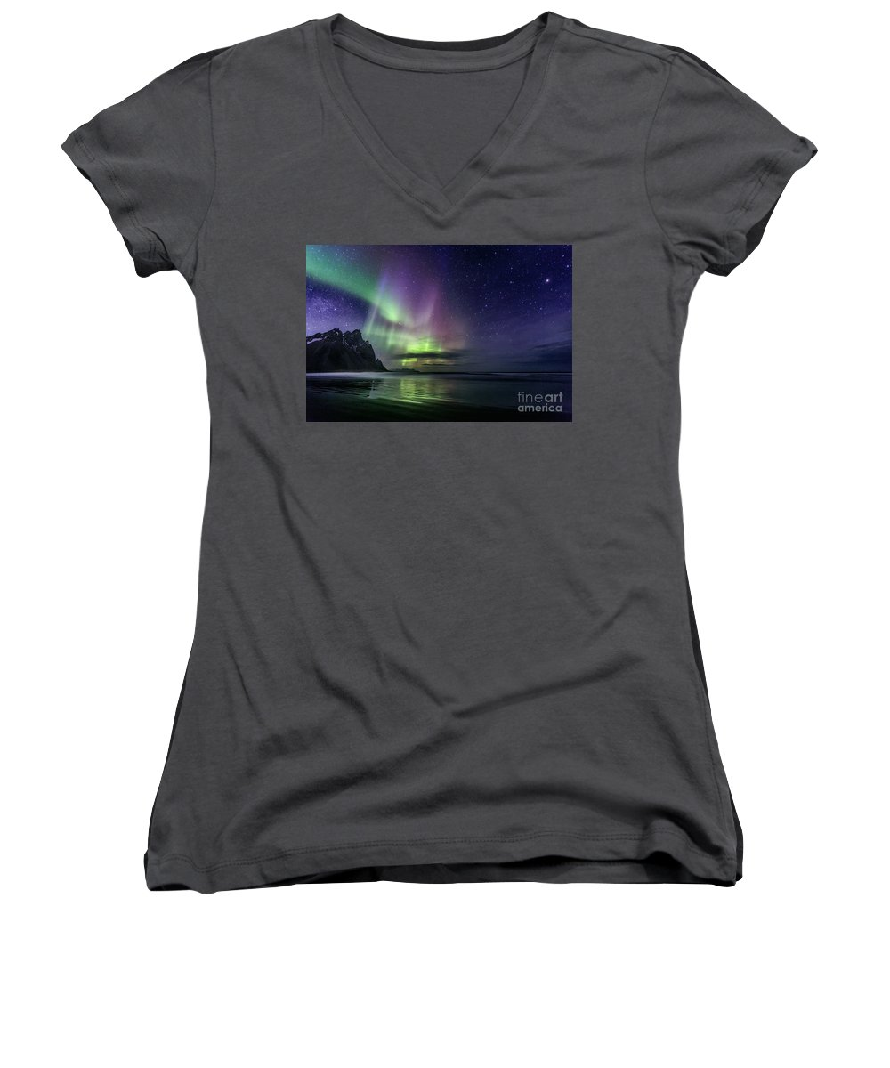 Kremsdorf Women's V-Neck featuring the photograph The Astral Wake Of Time by Evelina Kremsdorf