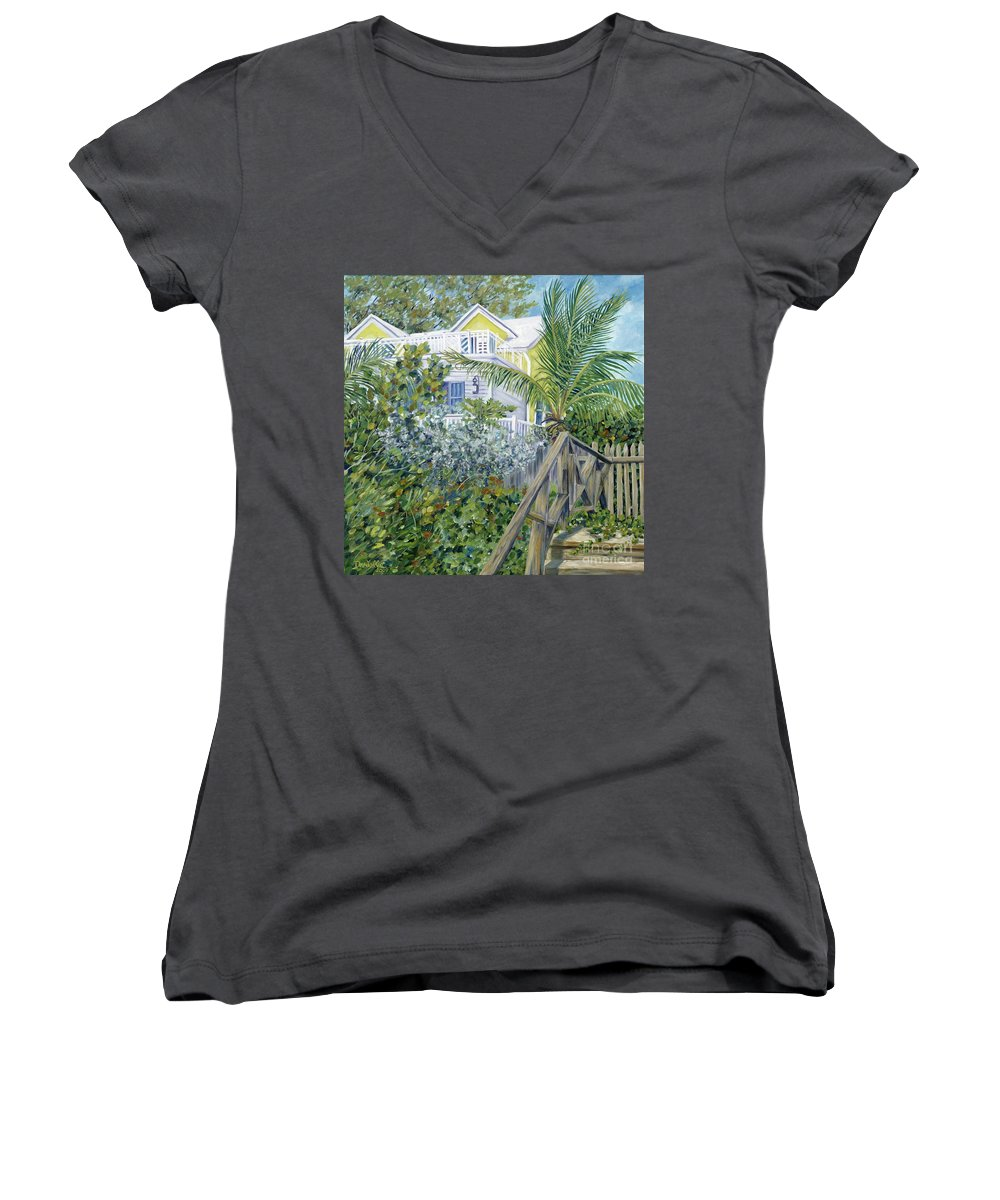 Beach House Women's V-Neck (Athletic Fit) featuring the painting The Beach House by Danielle Perry