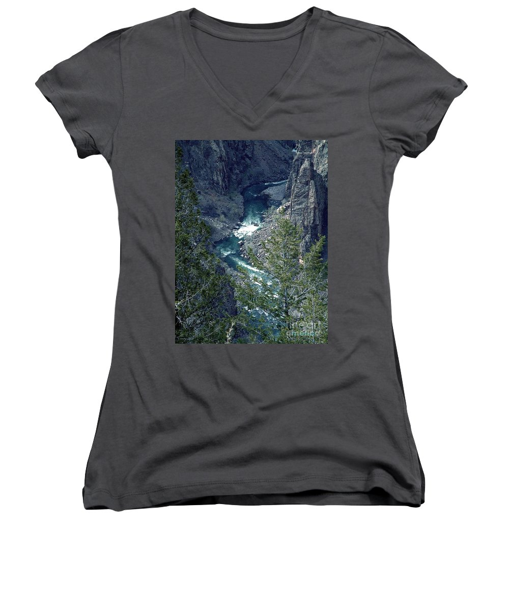 Canyon Women's V-Neck (Athletic Fit) featuring the painting The Black Canyon Of The Gunnison by RC DeWinter
