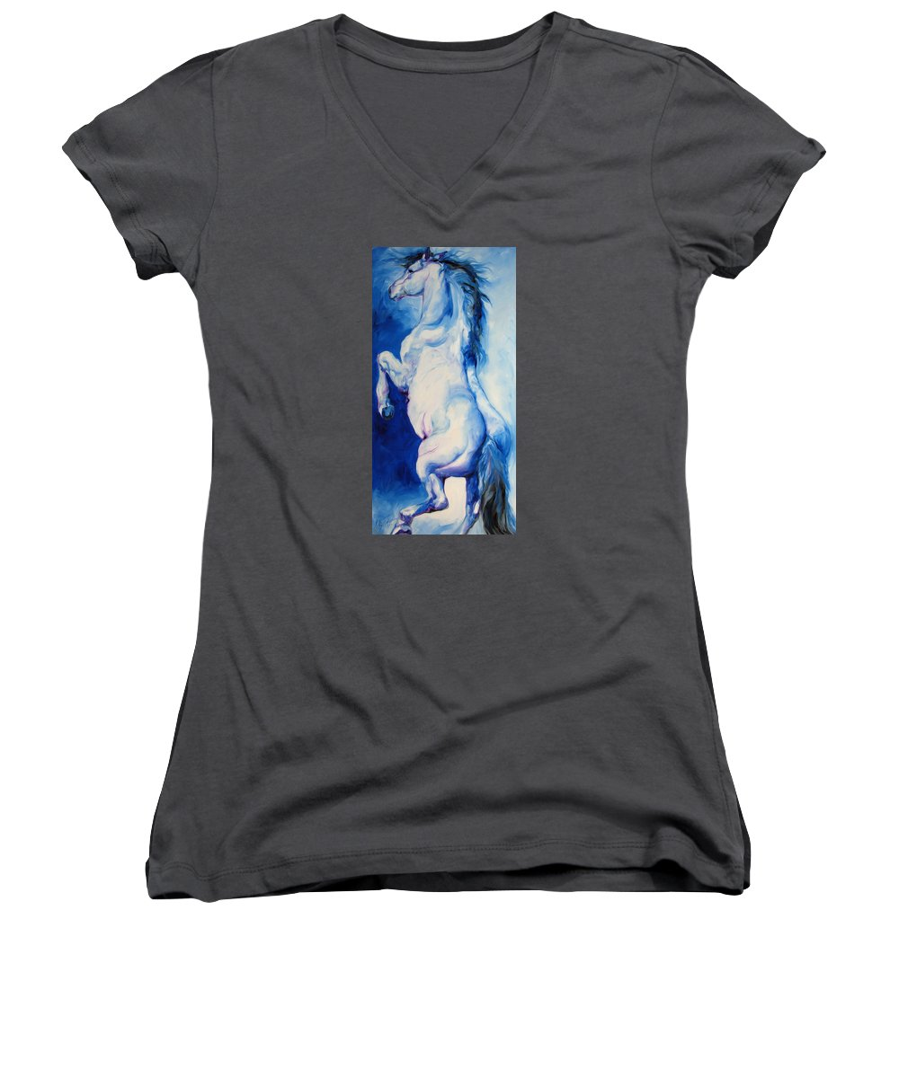 Horse Women's V-Neck T-Shirt featuring the painting The Blue Roan by Marcia Baldwin