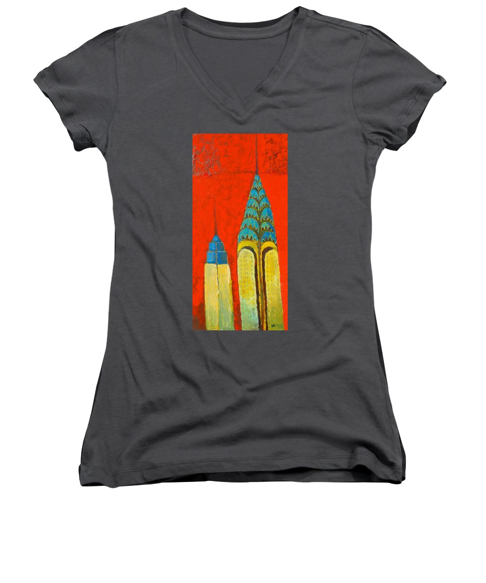 Women's V-Neck T-Shirt featuring the painting The Chrysler And The Empire State by Habib Ayat