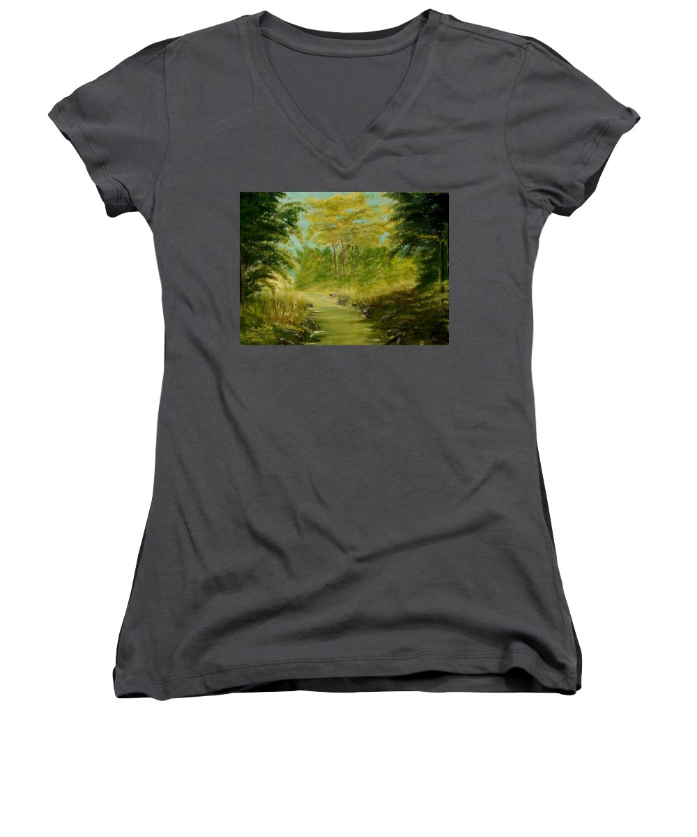 Water River Creek Nature Trees Landscape Women's V-Neck T-Shirt featuring the painting The Creek by Veronica Jackson