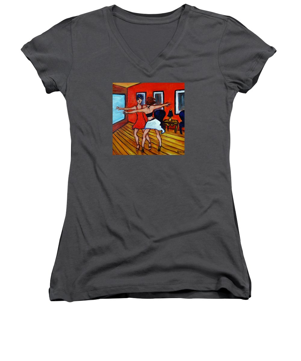 Dancers Women's V-Neck (Athletic Fit) featuring the painting The Dancers by Valerie Vescovi