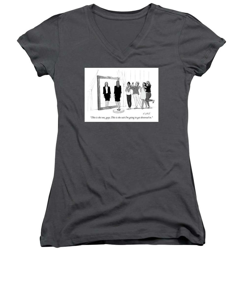 """""""this Is The One Women's V-Neck featuring the drawing The Divorce Suit by Will McPhail"""