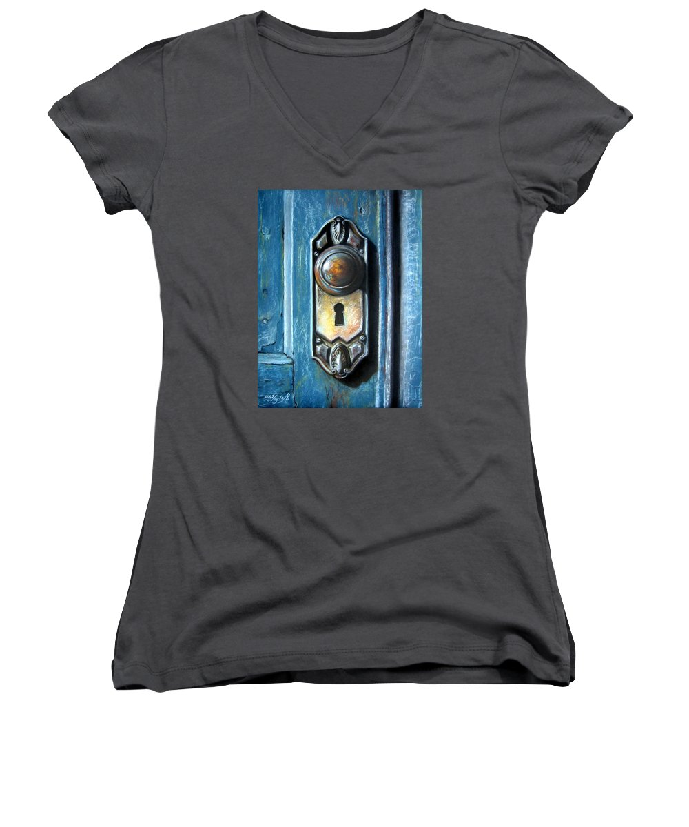 Door Knob Women's V-Neck T-Shirt featuring the painting The Door Knob by Leyla Munteanu