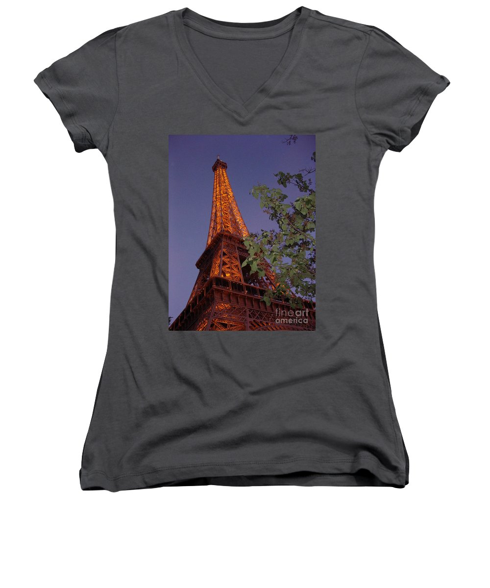 Tower Women's V-Neck T-Shirt featuring the photograph The Eiffel Tower Aglow by Nadine Rippelmeyer