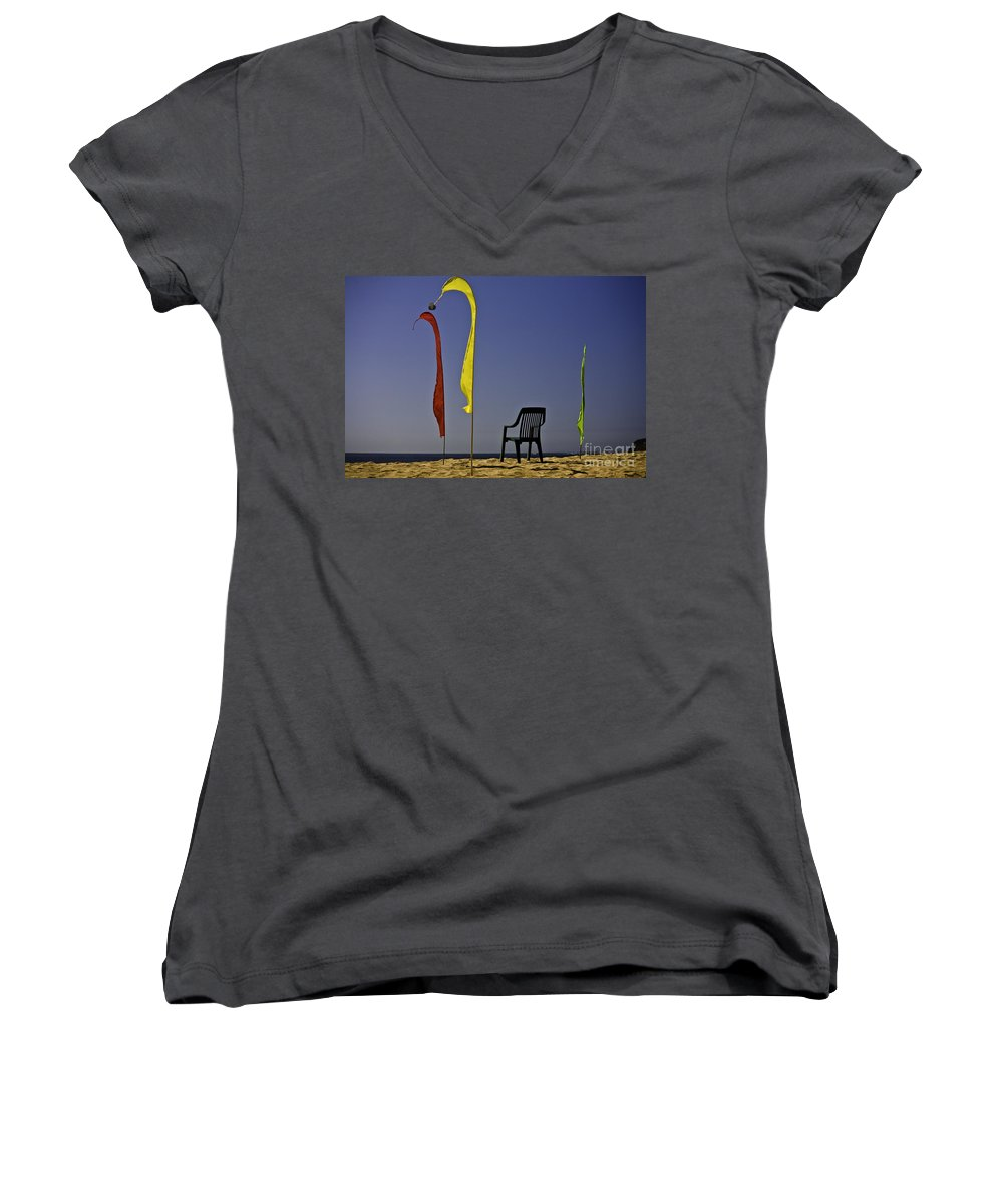 Beach Women's V-Neck T-Shirt featuring the photograph The Empty Chair by Sheila Smart Fine Art Photography