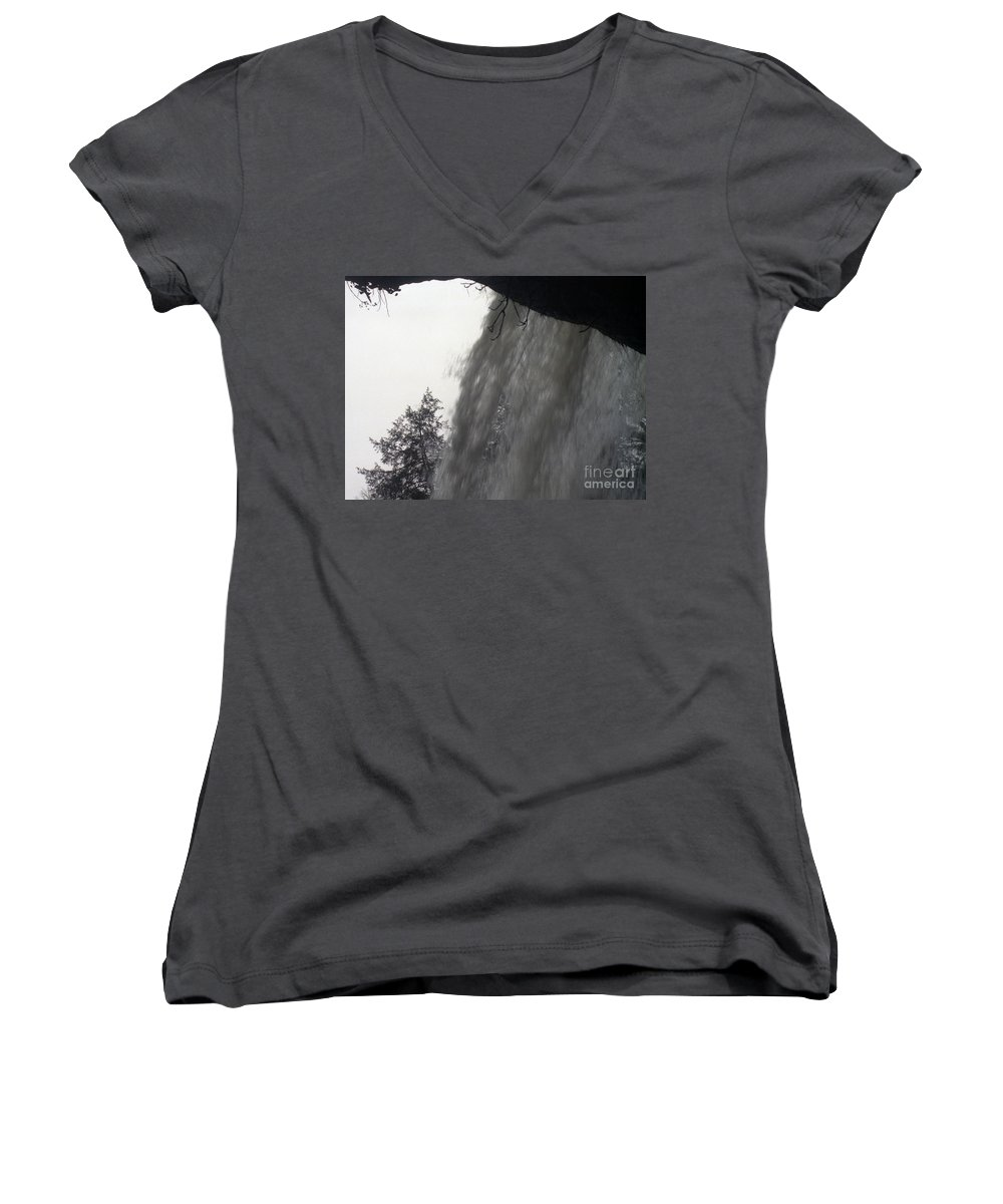 Waterfalls Women's V-Neck T-Shirt featuring the photograph The Falls by Richard Rizzo