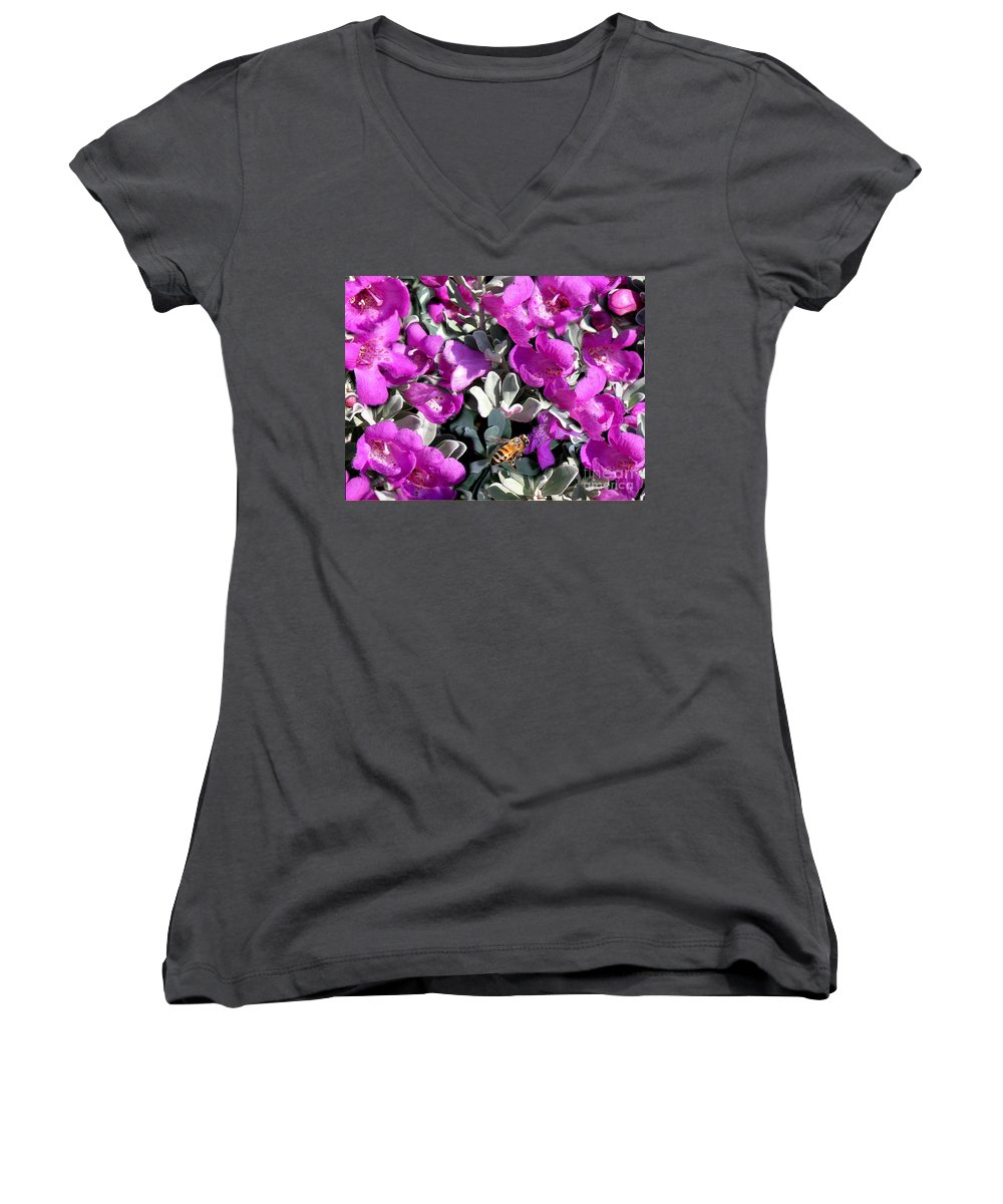 Nature Women's V-Neck T-Shirt featuring the photograph The Flight Of The Bumble Bee by Lucyna A M Green