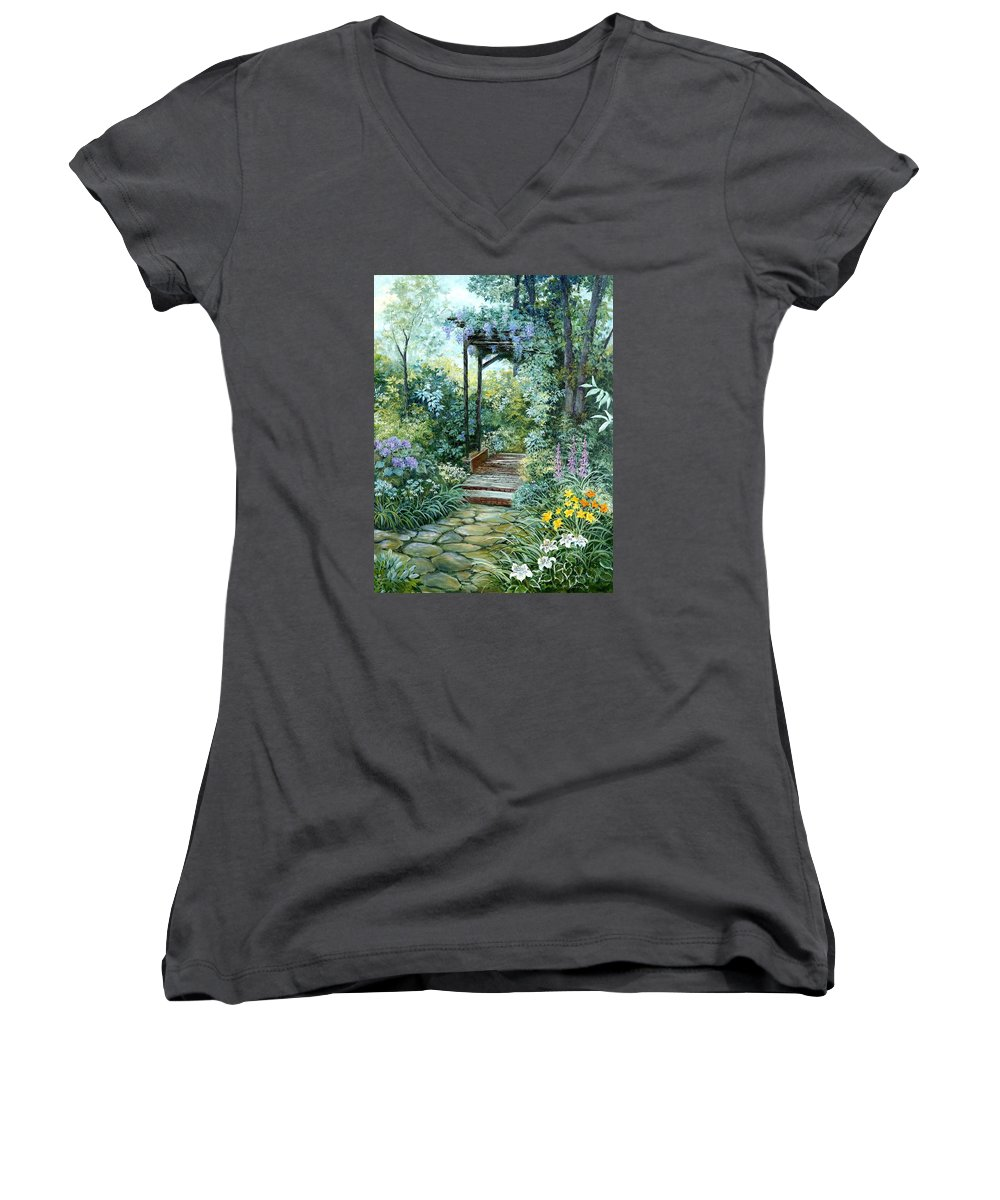 Oil Painting;wisteria;garden Path;lilies;garden;flowers;trellis;trees;stones;pergola;vines; Women's V-Neck T-Shirt featuring the painting The Garden Triptych Right Side by Lois Mountz