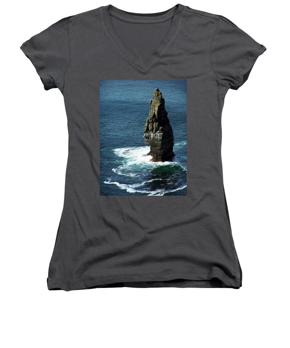 Irish Women's V-Neck (Athletic Fit) featuring the photograph The Great Sea Stack Brananmore Cliffs Of Moher Ireland by Teresa Mucha