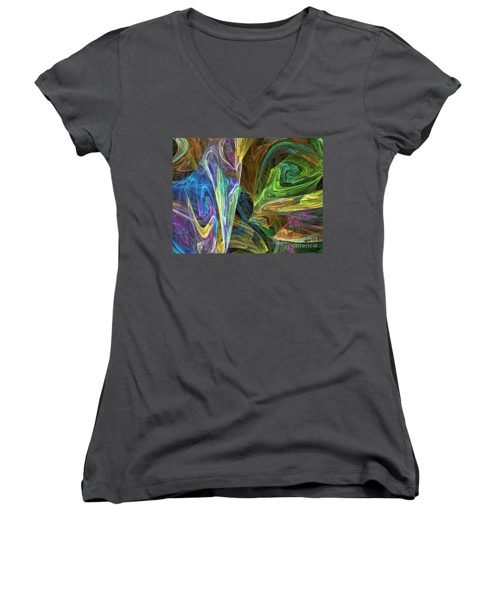 Fractals Women's V-Neck (Athletic Fit) featuring the digital art The Groove by Richard Rizzo