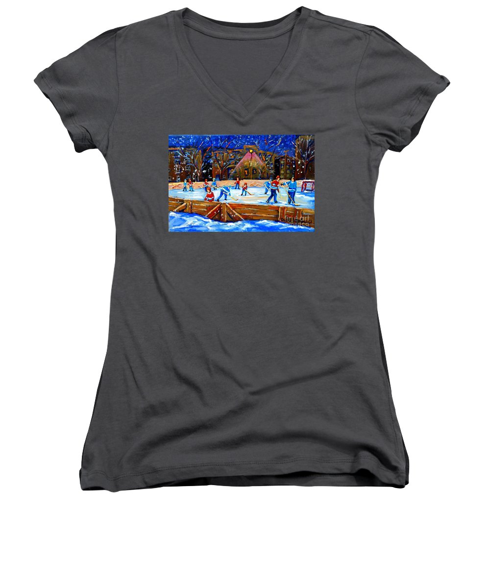 Snow Women's V-Neck (Athletic Fit) featuring the painting The Hockey Rink by Carole Spandau