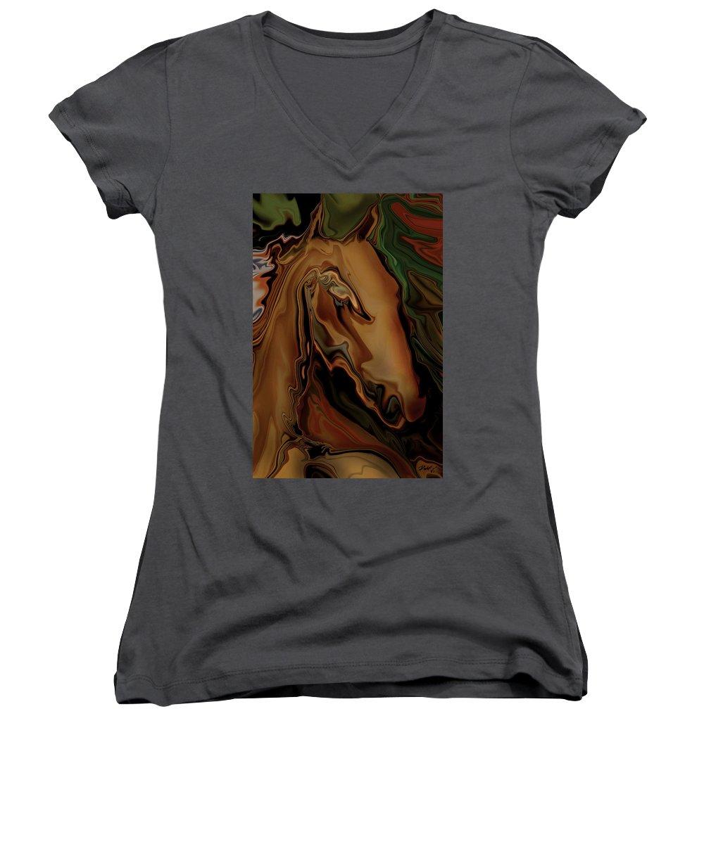 Animal Women's V-Neck T-Shirt featuring the digital art The Horse by Rabi Khan
