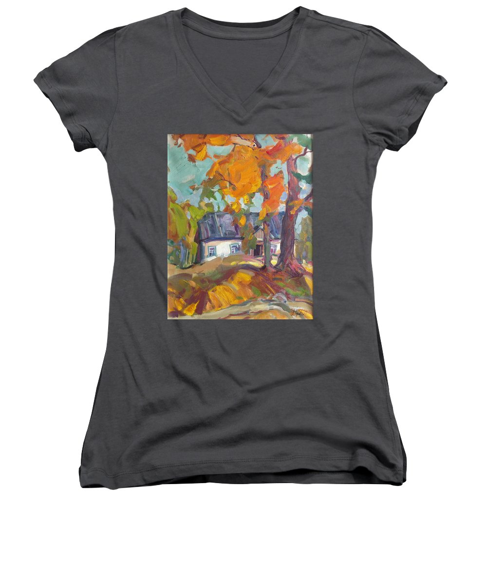 Oil Women's V-Neck T-Shirt featuring the painting The House In Chervonka Village by Sergey Ignatenko