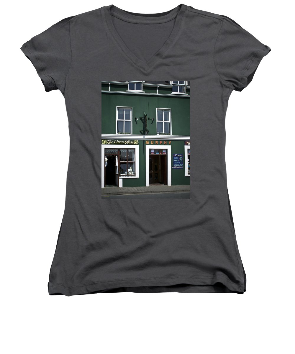 Irish Women's V-Neck T-Shirt featuring the photograph The Linen Chest Dingle Ireland by Teresa Mucha