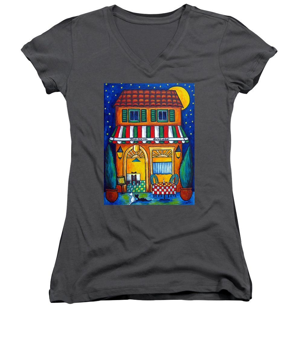 Blue Women's V-Neck (Athletic Fit) featuring the painting The Little Trattoria by Lisa Lorenz