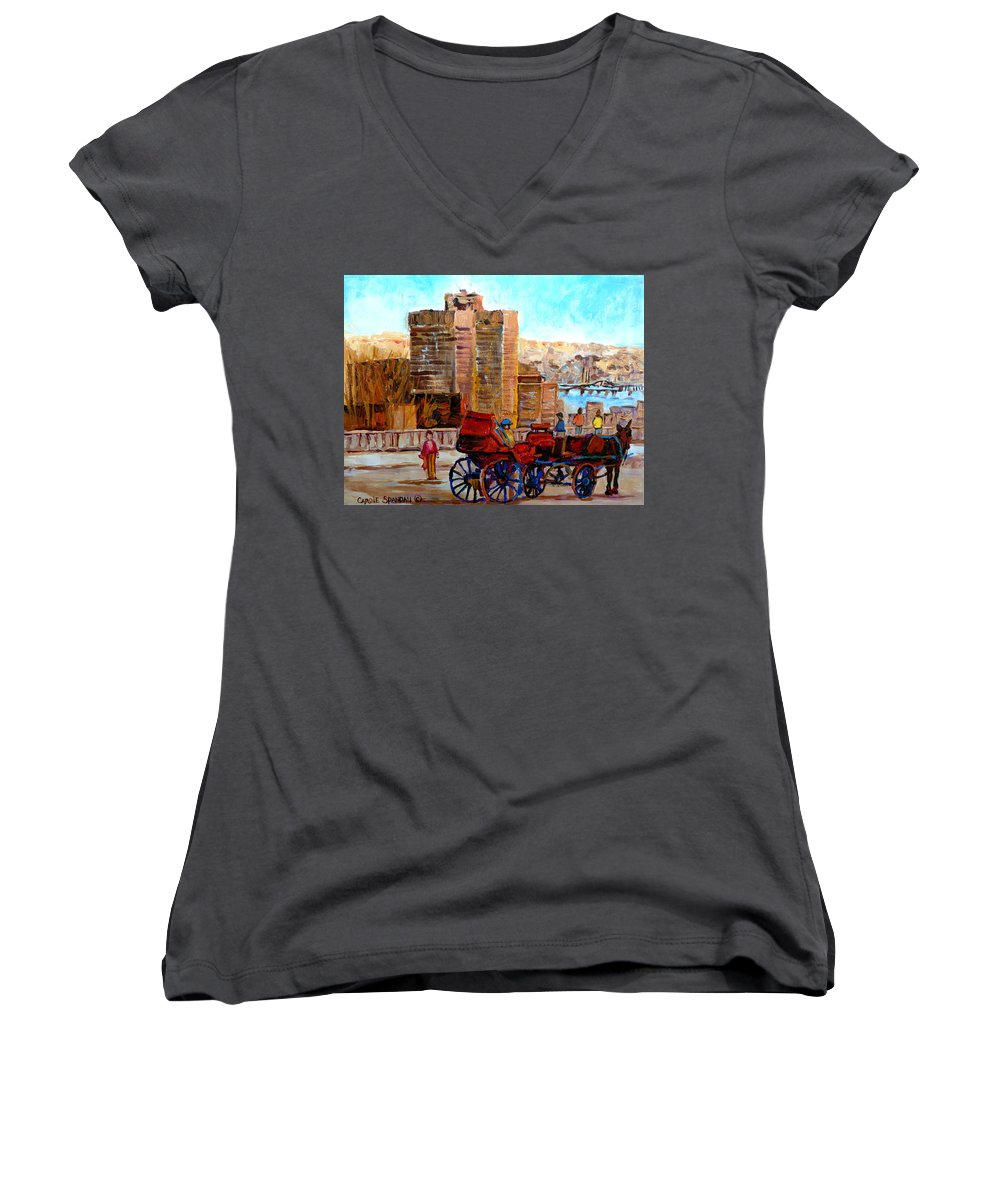 Montreal Street Scene Women's V-Neck T-Shirt featuring the painting The Lookout On Mount Royal Montreal by Carole Spandau