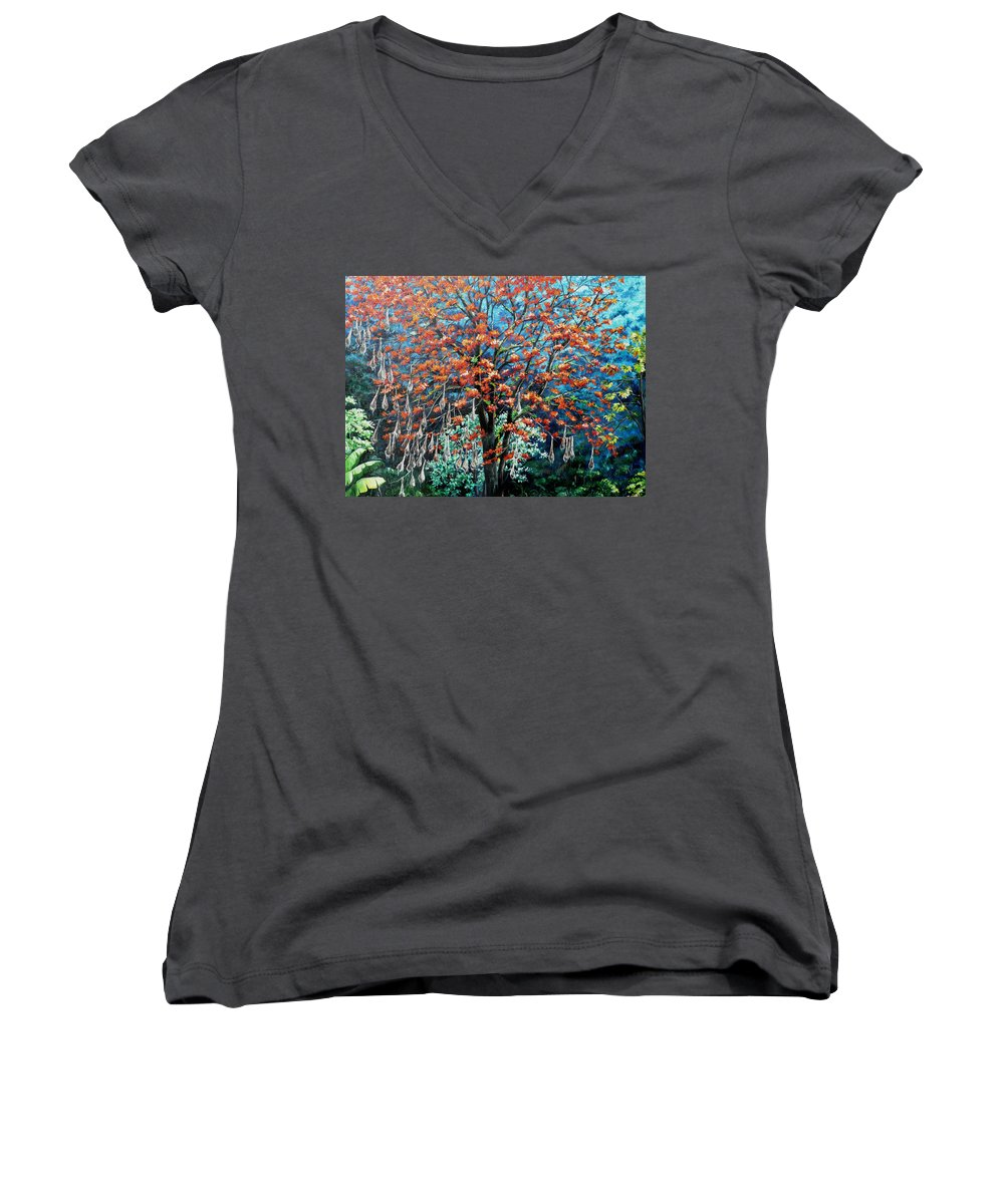 Tree Painting Mountain Painting Floral Painting Caribbean Painting Original Painting Of Immortelle Tree Painting  With Nesting Corn Oropendula Birds Painting In Northern Mountains Of Trinidad And Tobago Painting Women's V-Neck (Athletic Fit) featuring the painting The Mighty Immortelle by Karin Dawn Kelshall- Best