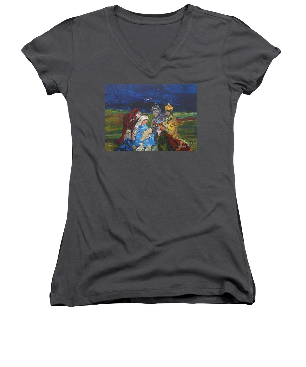 Nativity Women's V-Neck (Athletic Fit) featuring the painting The Nativity by Reina Resto