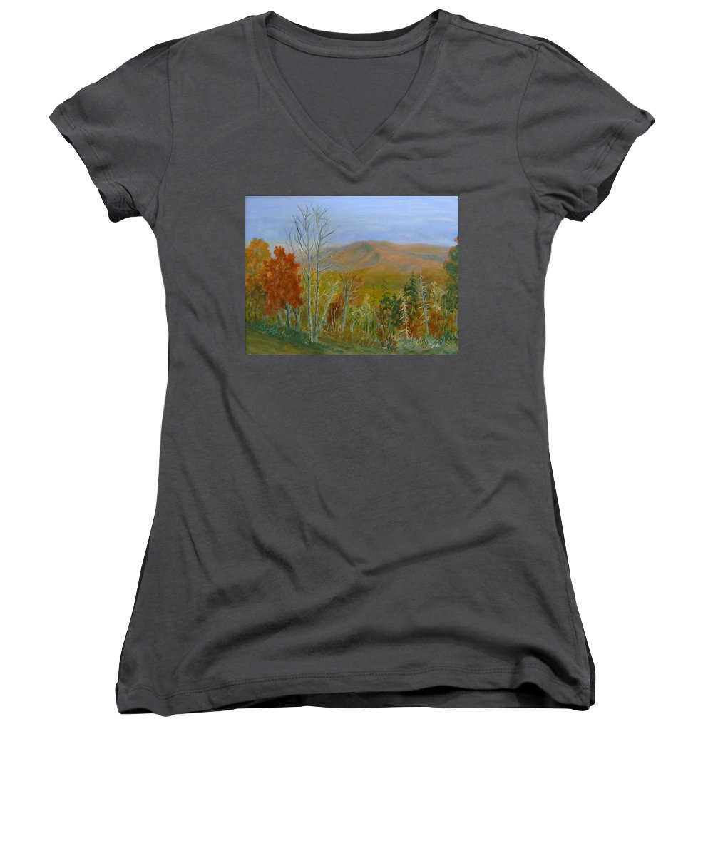 Mountains; Trees; Fall Colors Women's V-Neck T-Shirt featuring the painting The Parkway View by Ben Kiger