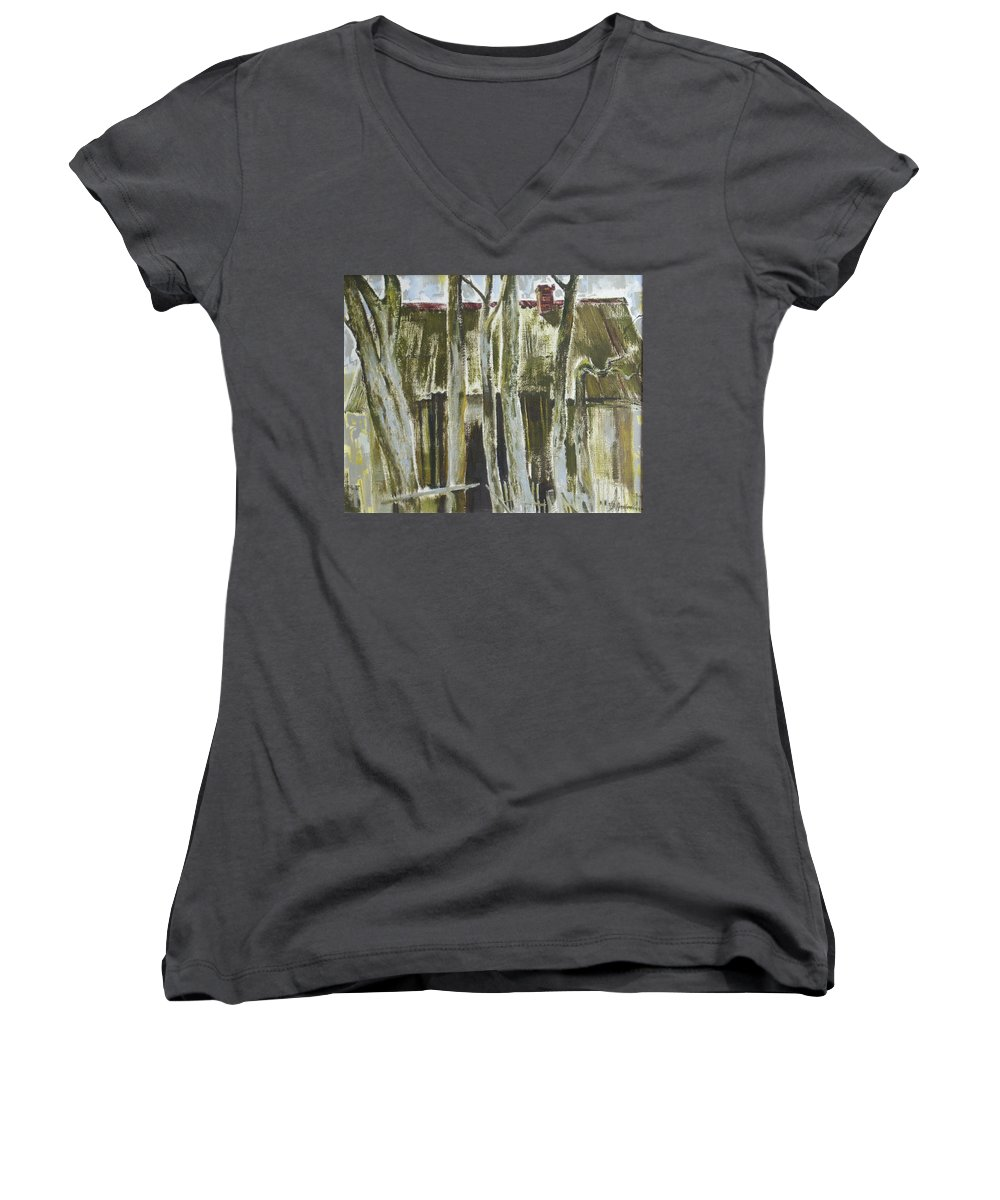 Oil Women's V-Neck T-Shirt featuring the painting The Past Space by Sergey Ignatenko