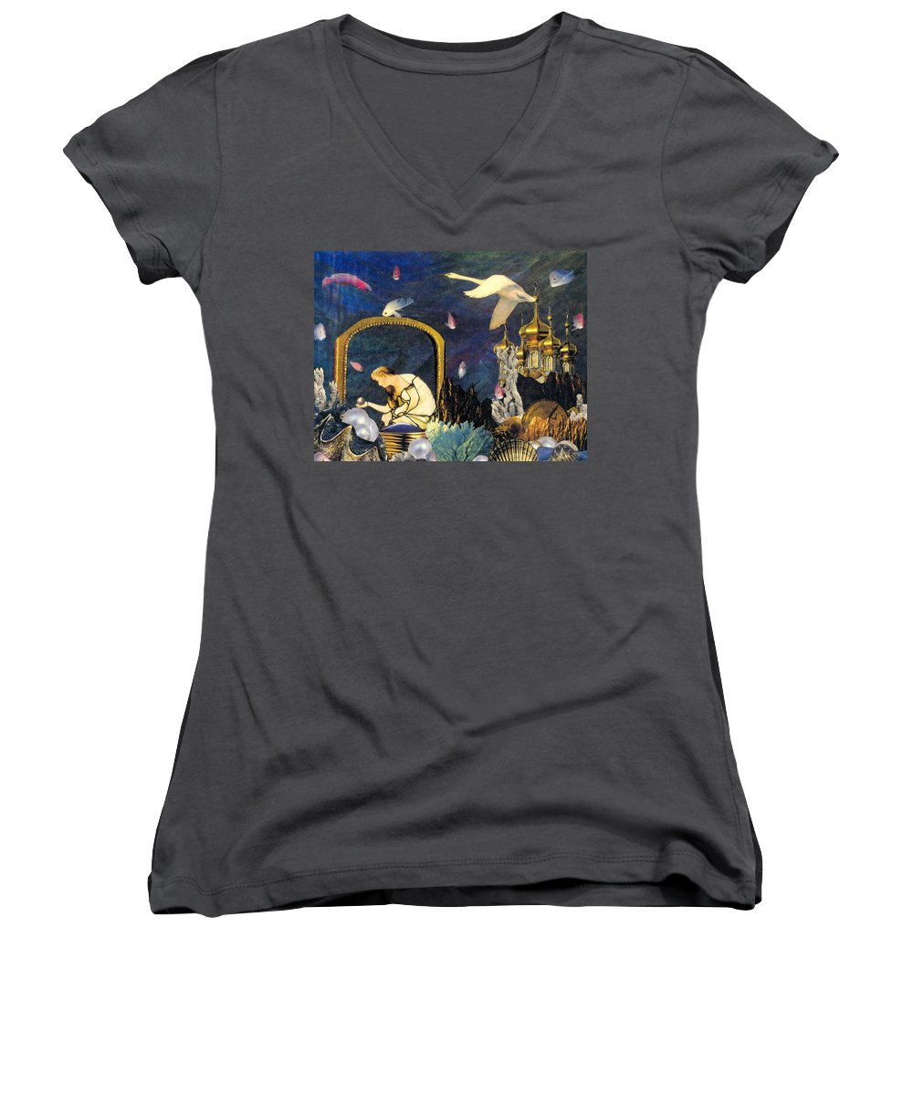 Surealism Women's V-Neck T-Shirt featuring the mixed media The Pearl Of Great Price by Gail Kirtz