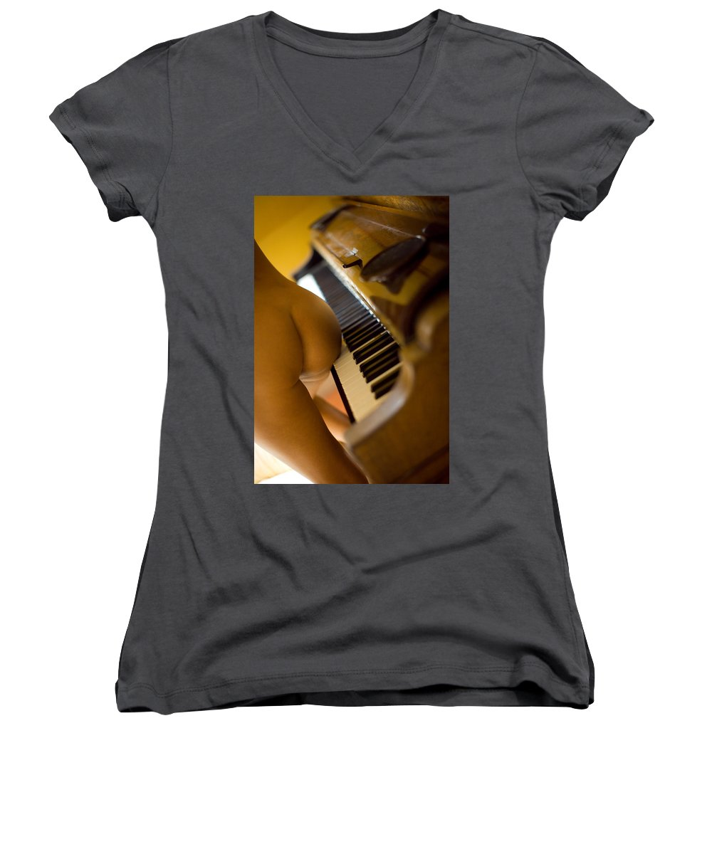 Sensual Women's V-Neck T-Shirt featuring the photograph The Piano by Olivier De Rycke