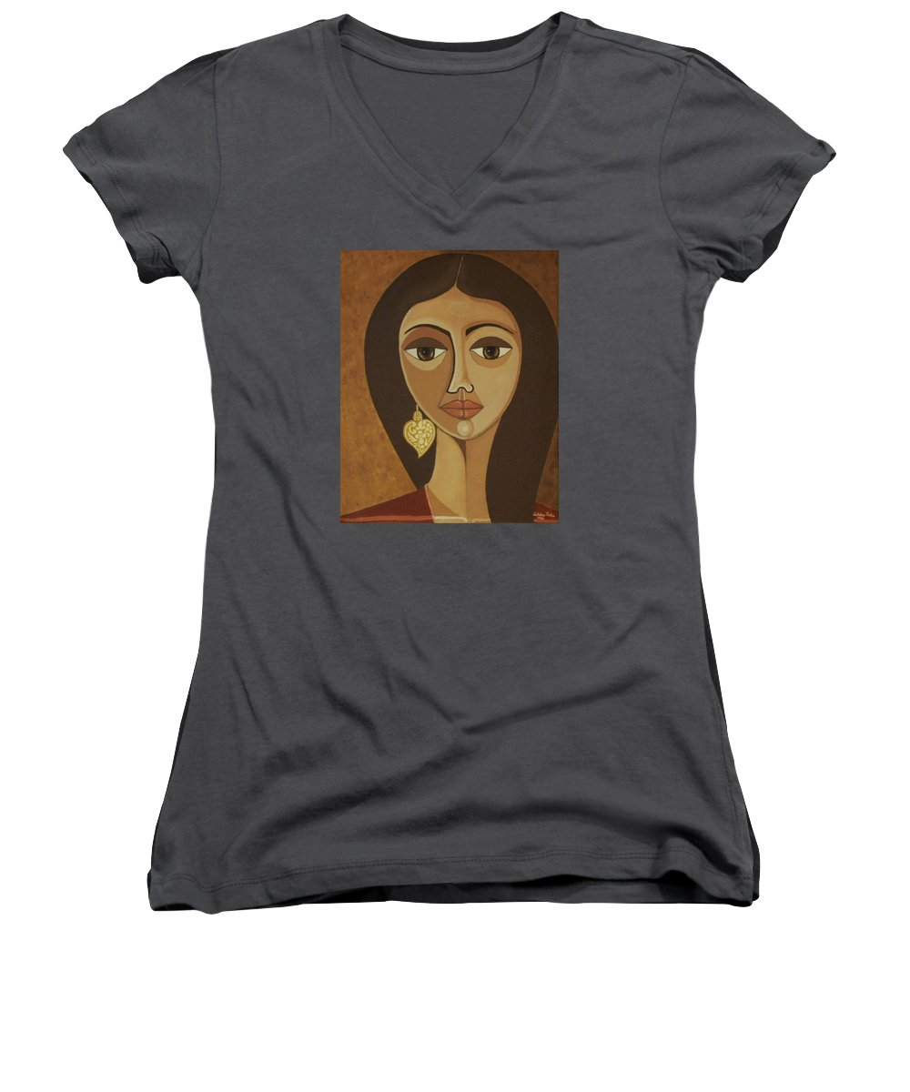 Portuguese Women's V-Neck T-Shirt featuring the painting The Portuguese Earring by Madalena Lobao-Tello