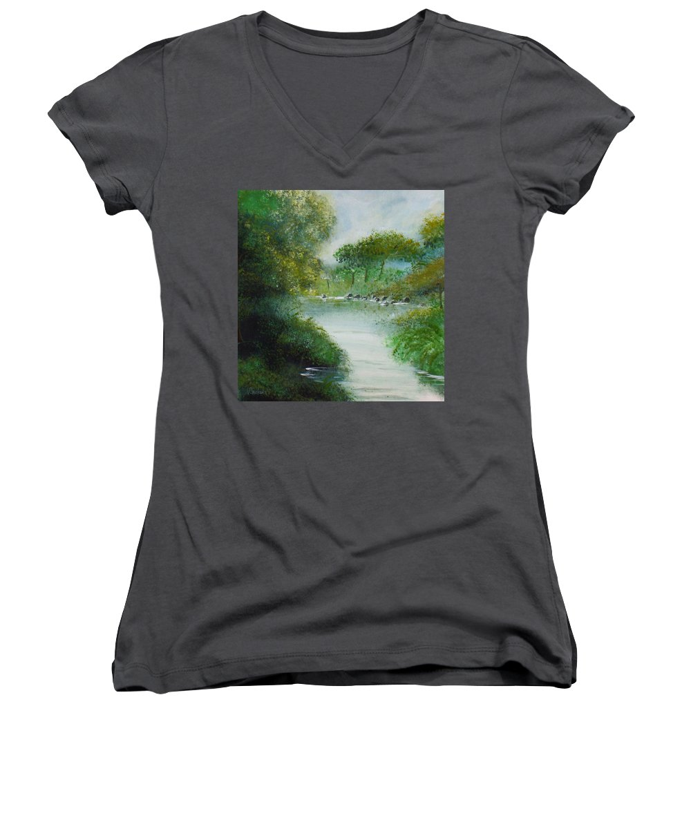 River Water Trees Clouds Leaves Nature Green Women's V-Neck (Athletic Fit) featuring the painting The River by Veronica Jackson