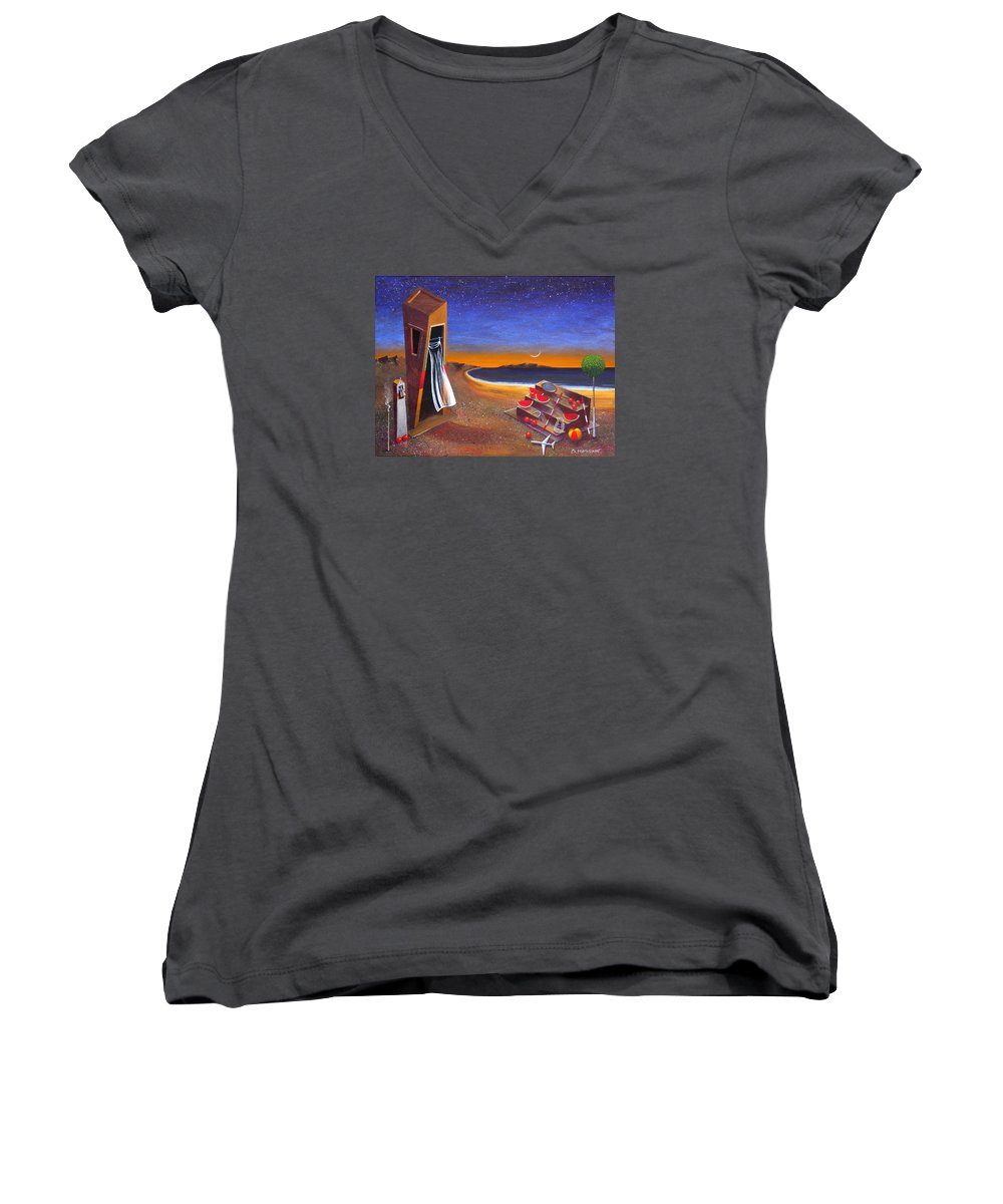 Landscape Women's V-Neck T-Shirt featuring the painting The School Of Metaphysical Thought by Dimitris Milionis