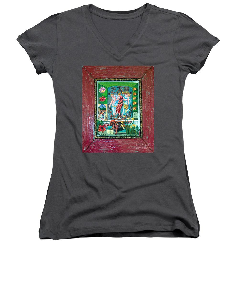 Women Women's V-Neck T-Shirt featuring the painting The Three Sisters by Genevieve Esson