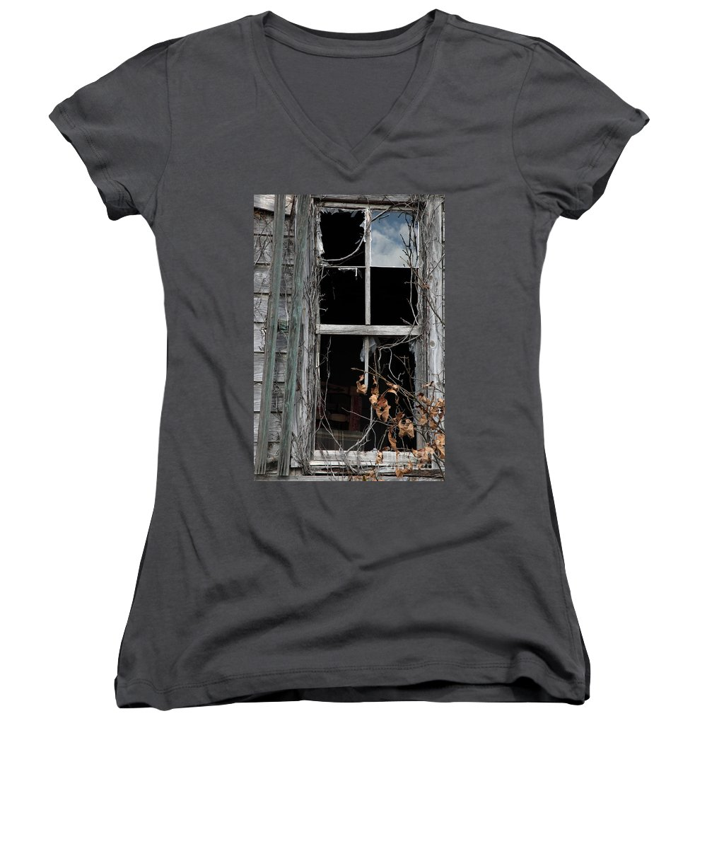 Windows Women's V-Neck T-Shirt featuring the photograph The Window by Amanda Barcon
