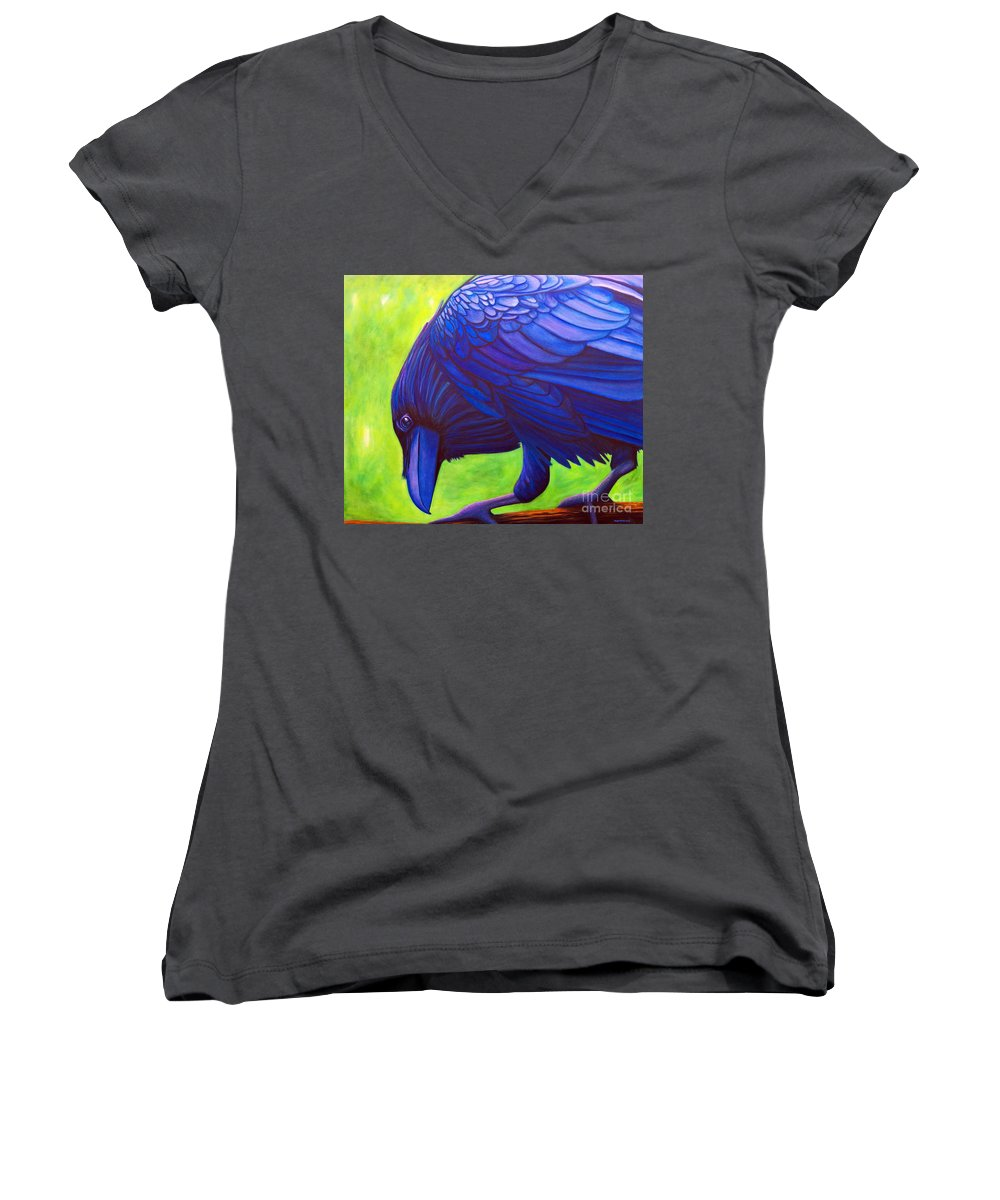 Raven Women's V-Neck (Athletic Fit) featuring the painting The Witness by Brian Commerford