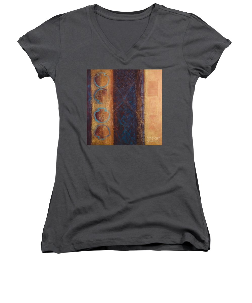 Abstract Women's V-Neck T-Shirt featuring the painting The X Factor Alchemy Of Consciousness by Kerryn Madsen-Pietsch
