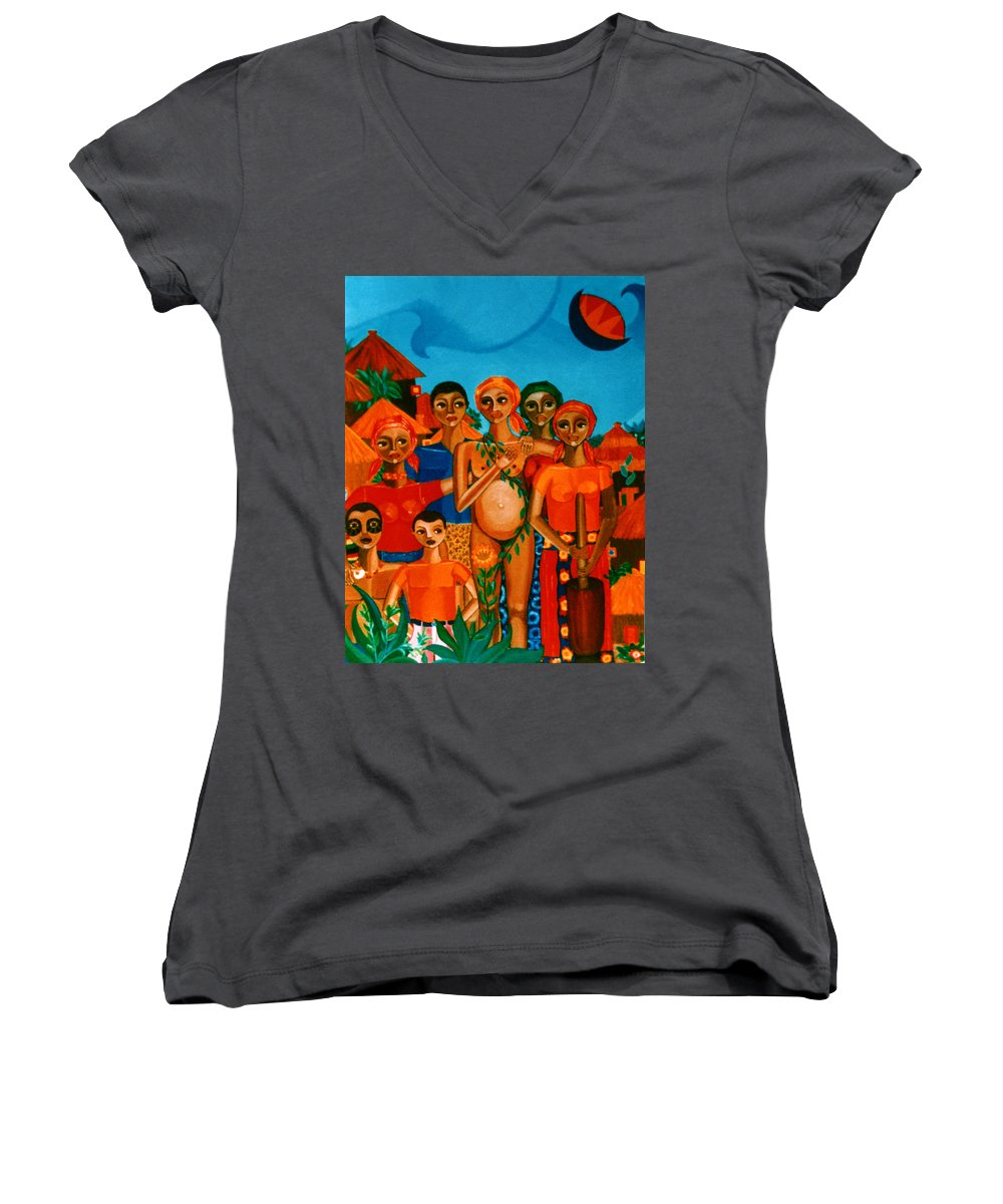 Pregnant Women Women's V-Neck (Athletic Fit) featuring the painting There Are Always Sunflowers For Those Waiting A New Life by Madalena Lobao-Tello