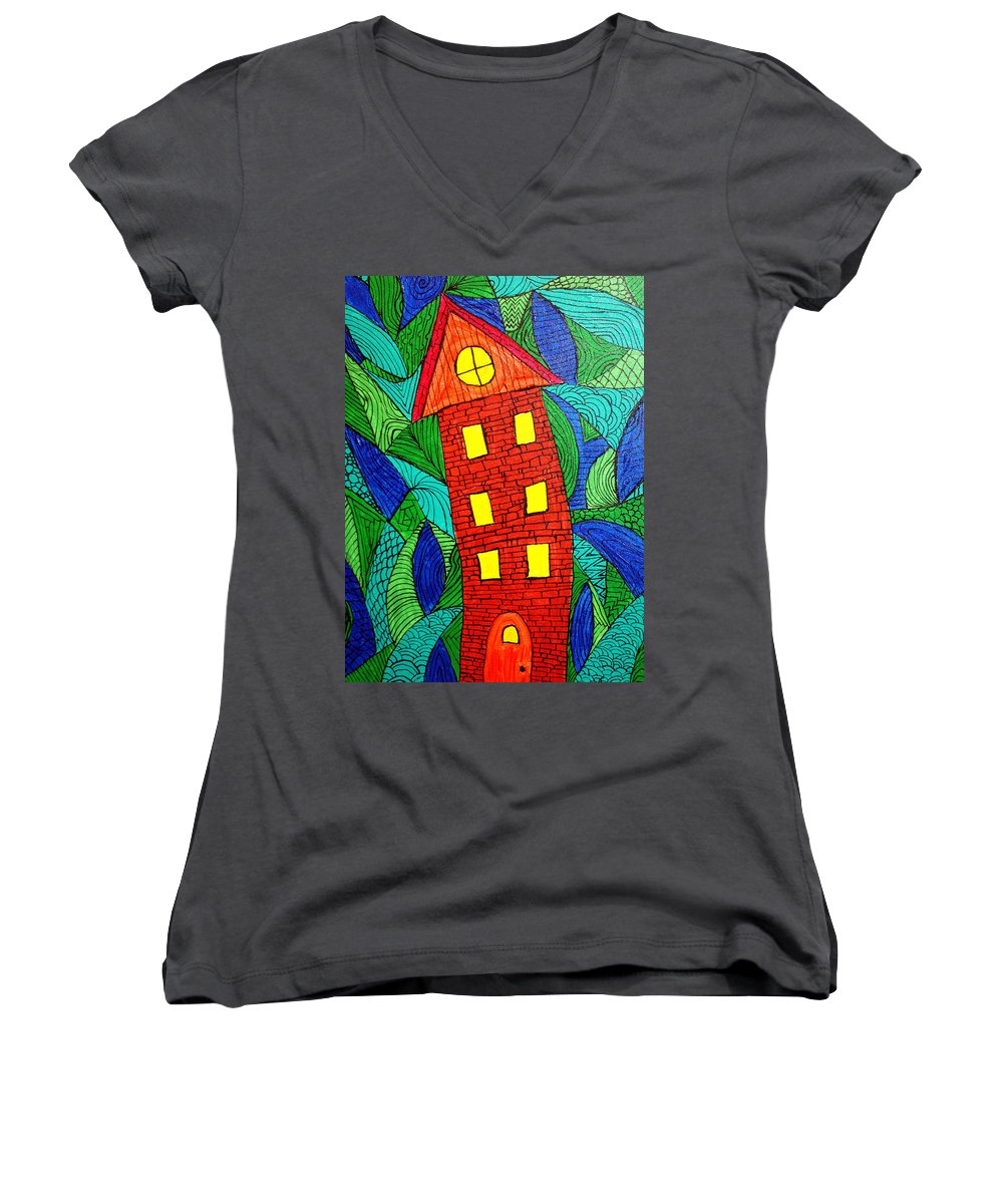 Geometric Patterns Women's V-Neck T-Shirt featuring the painting There Was A Crooked House by Wayne Potrafka