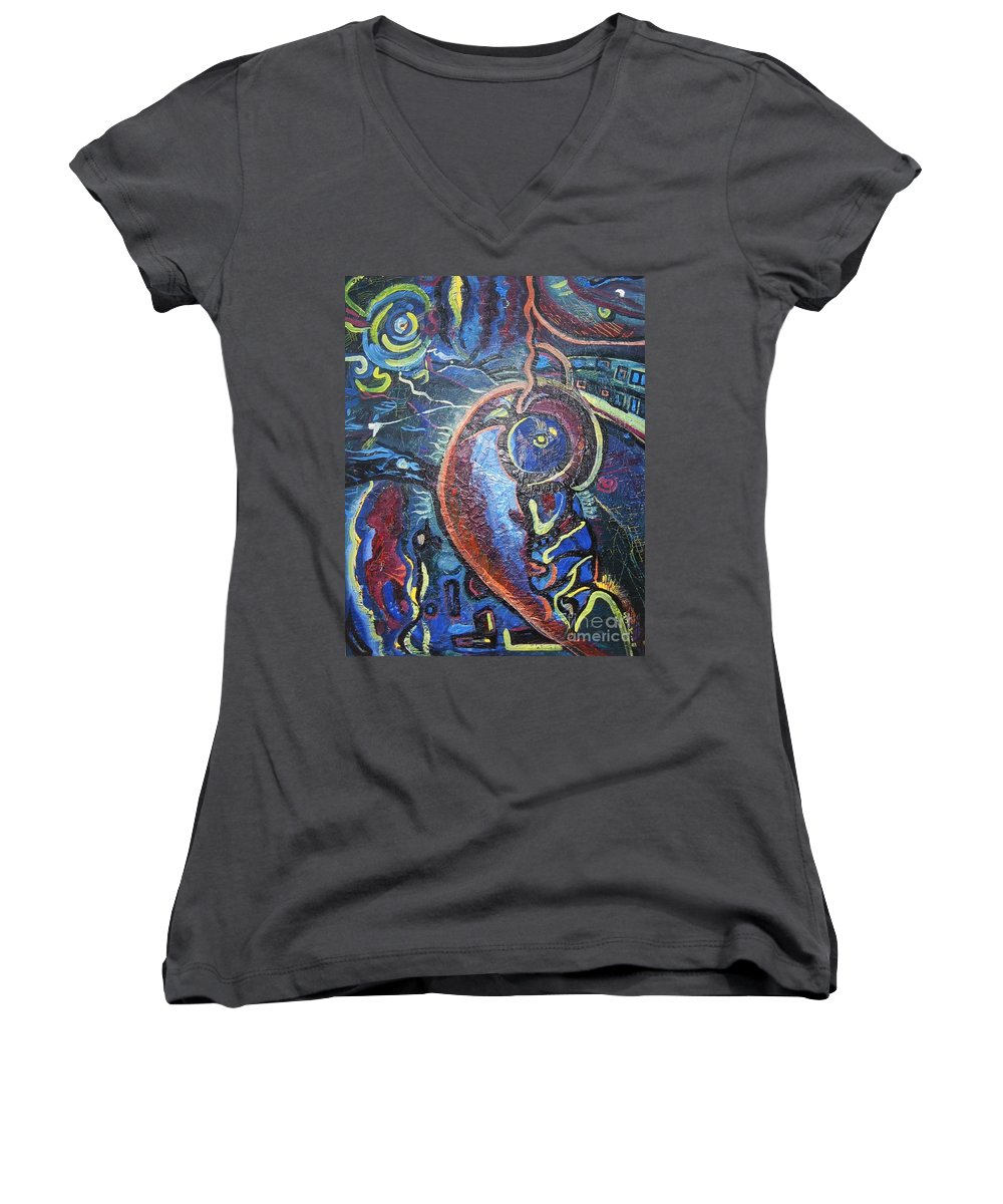 Abstract Contemporary Home Blue Oil Canvas Board Women's V-Neck (Athletic Fit) featuring the painting Thinking Of Home by Seon-Jeong Kim