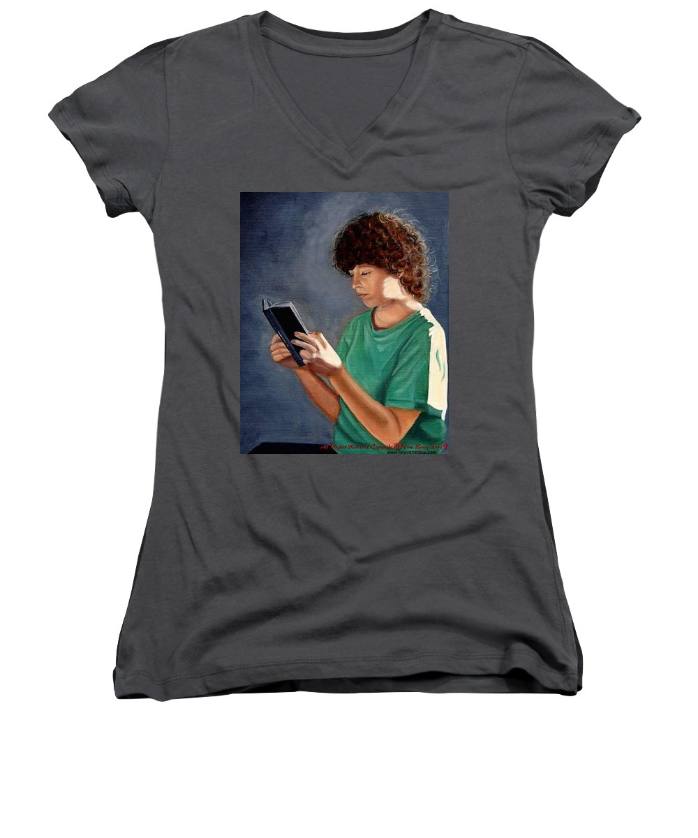Portrait Women's V-Neck T-Shirt featuring the painting Thirst For Knowledge by Toni Berry