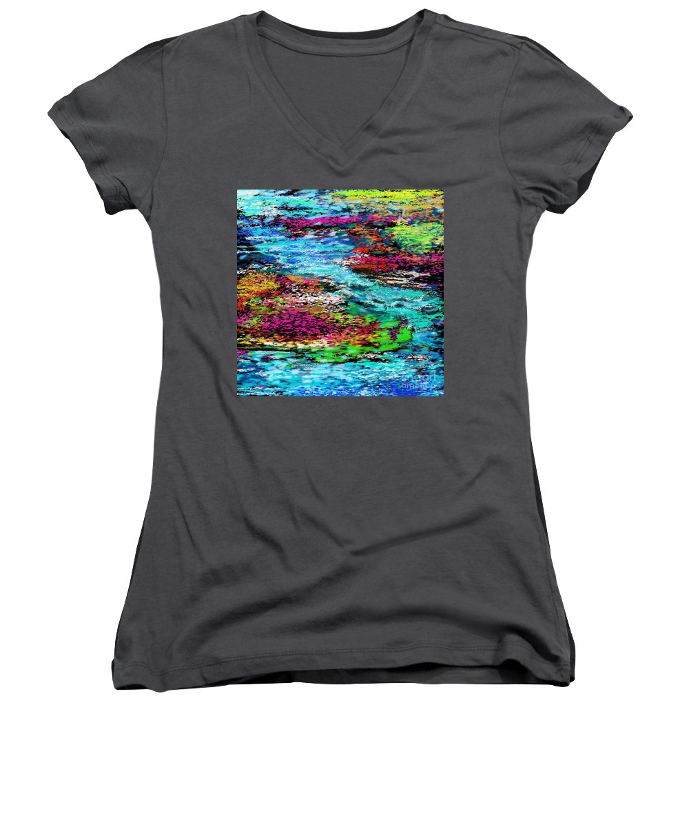 Abstract Women's V-Neck T-Shirt featuring the digital art Thought Upon A Stream by David Lane