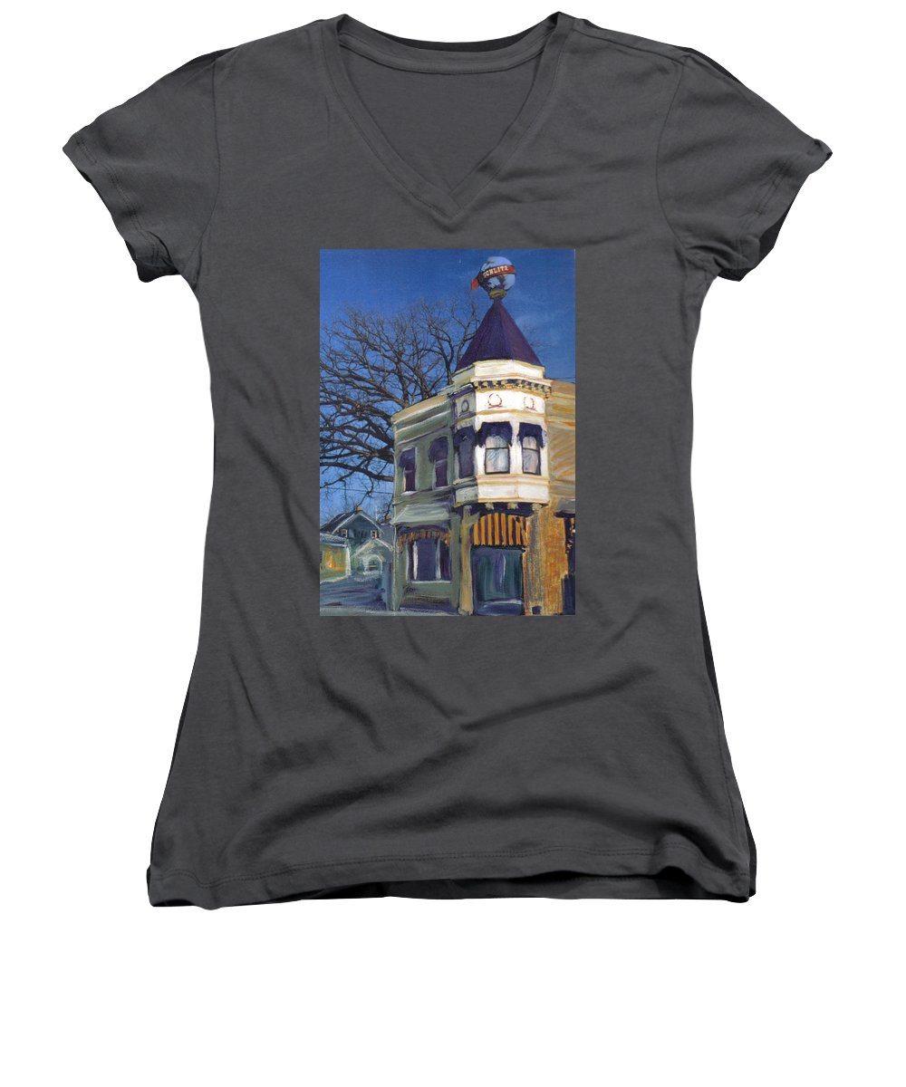 Miexed Media Women's V-Neck (Athletic Fit) featuring the mixed media Three Brothers by Anita Burgermeister
