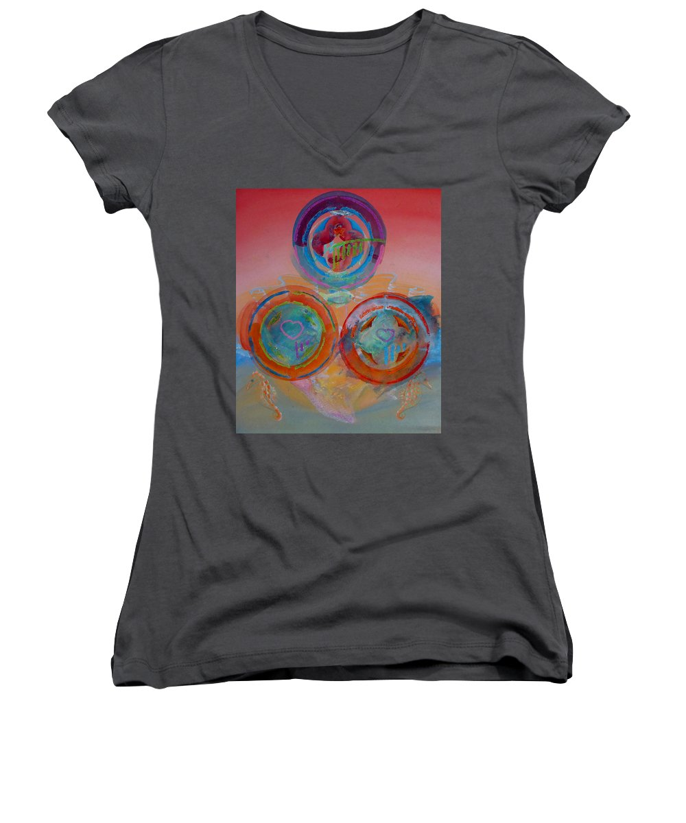 Logo Women's V-Neck T-Shirt featuring the painting Three On Marine by Charles Stuart