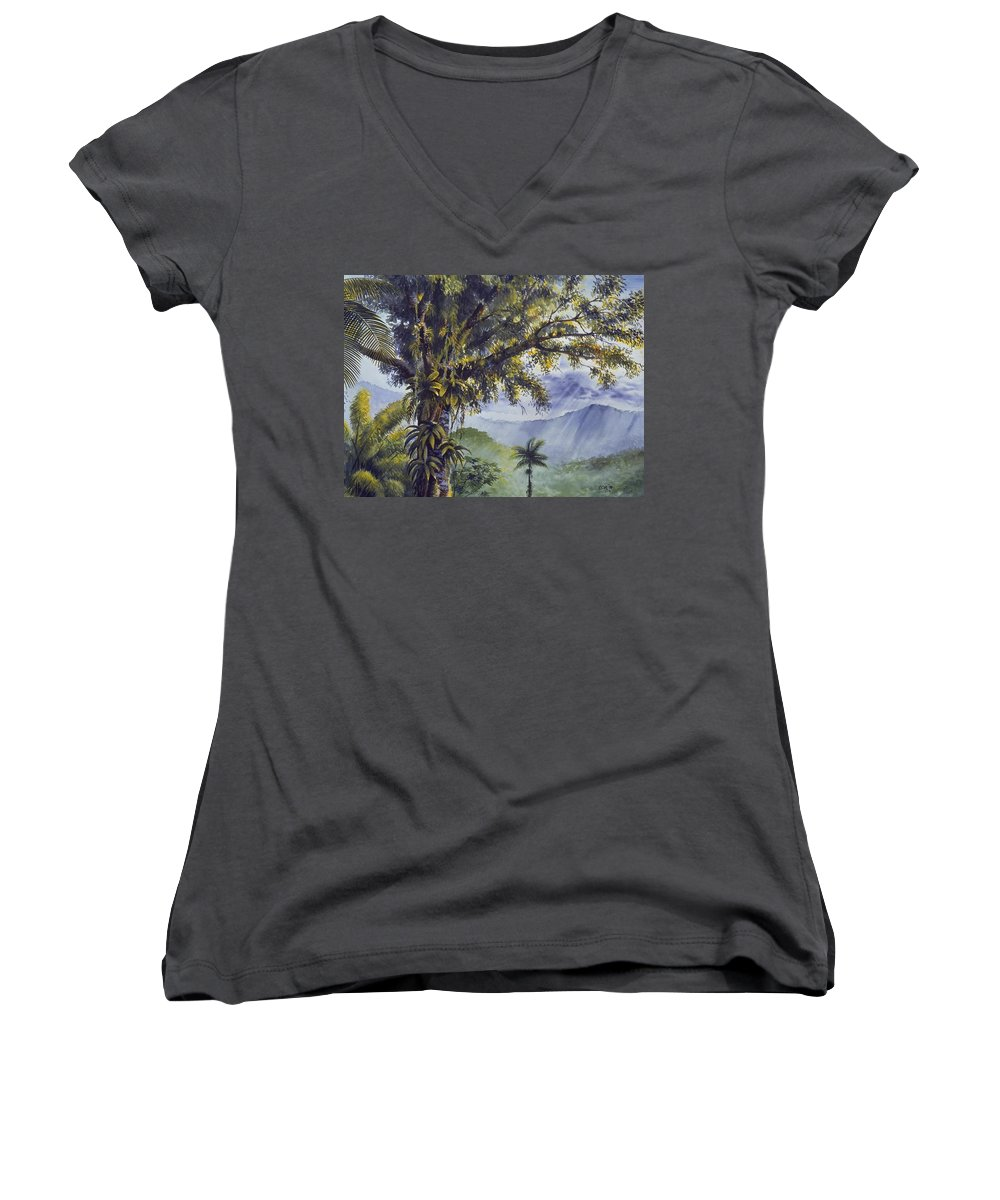 Chris Cox Women's V-Neck T-Shirt featuring the painting Through The Canopy by Christopher Cox