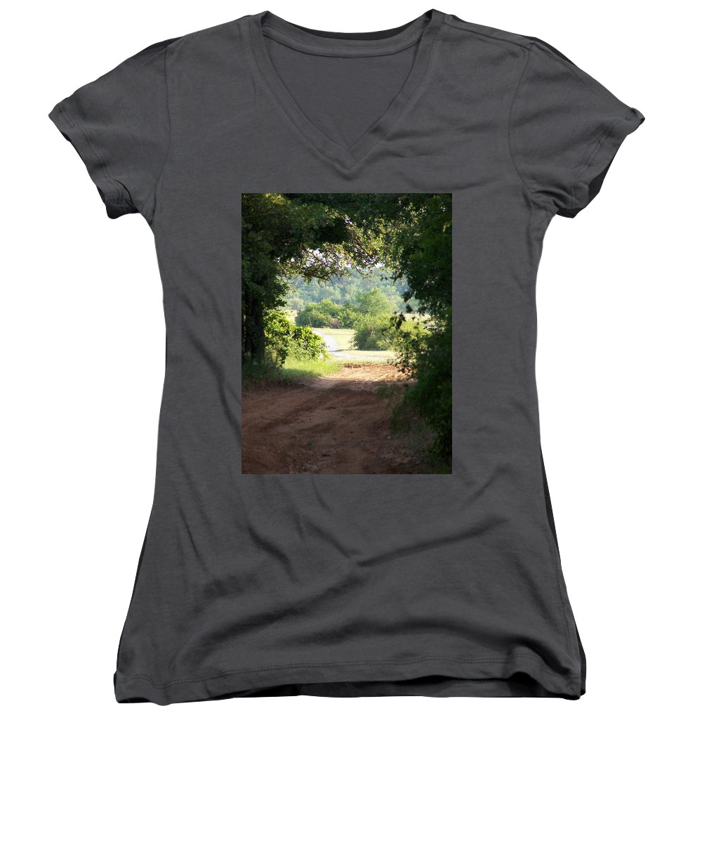 Woods Women's V-Neck (Athletic Fit) featuring the photograph Through The Woods by Gale Cochran-Smith