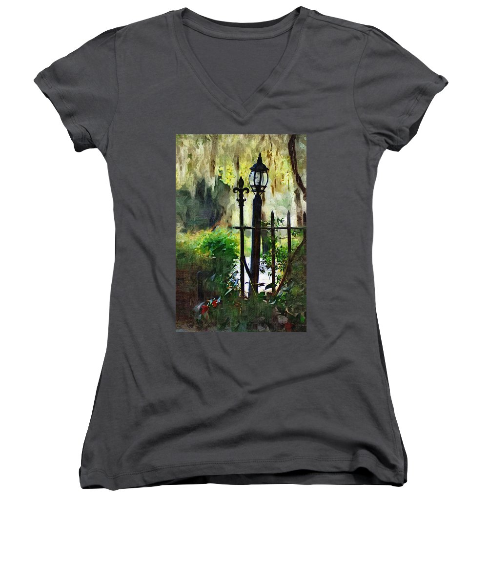 Gate Women's V-Neck T-Shirt featuring the digital art Thru The Gate by Donna Bentley