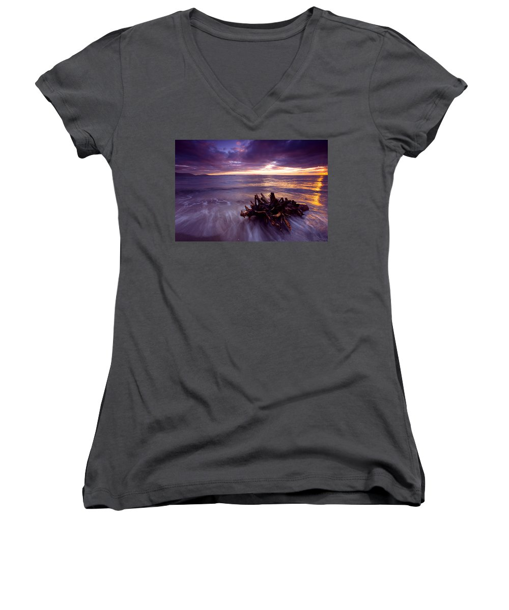 Sunset Women's V-Neck T-Shirt featuring the photograph Tide Driven by Mike Dawson
